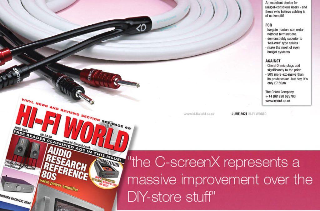 """Recenzja kabla głośnikowego Chord Company C-screenX w """"Hi-Fi World"""" June 2021"""